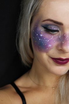 galaxy face || halloween makeup by nikola mills || creative makeup look for halloween party || easy galaxy makeup ||
