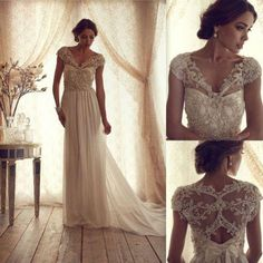 Weddbook ♥ Gorgeous Anna Campbell Vintage Wedding Dress. Unique lace V neckline and lace embroidery back wedding dress. Lace embroidery bodice sweep train wedding dress. Cheap and stylish wedding dresses. 2014 New Hot Sale V Neck Lace Wedding Dress Bridal Gown Size 4 6 8 10 12 14 16 gift vintage