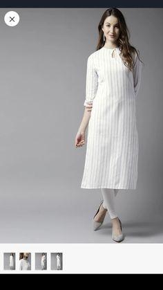This lovely cool white summer dress make calming their hot summer look and get versatility on their talk show look. Silk Kurti Designs, Churidar Designs, Kurta Designs Women, Blouse Designs, Plain Kurti, Khadi Kurta, Kaftan, Kurta Patterns, White Kurta