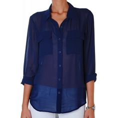 Humble Chic NY Button Down Pocket Blouse ($44) ❤ liked on Polyvore featuring tops, blouses, navy blue, button down shirt, navy blue button down shirt, sleeveless chiffon blouse, button up shirts and navy blue blouse