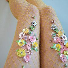Lemon Blossom #lirikamatoshi #embroidery #handmade #madeinnyc #fishnets #fishnettights #fishnetstockings #fishnetart#embroideryart