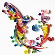 """Quilled Paper Art: """"Colourful Hummingbird"""" - Handmade Artwork - Paper Wall Art…"""
