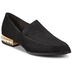 Valencia Beaded Leather Loafers | Hudson's Bay ($90) ❤ liked on Polyvore featuring shoes, loafers, loafer shoes, loafers moccasins, genuine leather shoes, real leather shoes and leather shoes