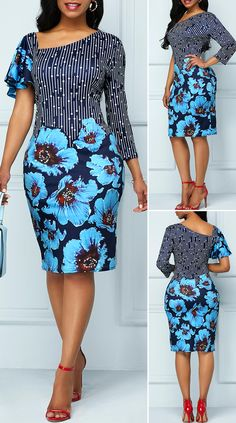 Large Floral Print Butterfly Sleeve Dress - Women's style: Patterns of sustainability Best African Dresses, African Traditional Dresses, Latest African Fashion Dresses, African Print Dresses, African Print Fashion, African Attire, Latest Fashion, Fashion Mode, Fashion Outfits