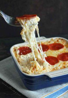 Pepperoni Pizza Cauliflower Casserole + 25 ways to use cauliflower :)