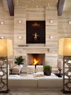 Get inspired by Modern Living Room Design photo by Beckwith Interiors. Wayfair lets you find the designer products in the photo and get ideas from thousands of other Modern Living Room Design photos. Fireplace Remodel, Fireplace Wall, Fireplace Surrounds, Fireplace Design, Fireplace Ideas, Fireplace Mantels, Fireplace Stone, Simple Fireplace, Candle Fireplace
