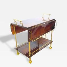 Aldo Tura Lacquered Goatskin and Polished Brass Expandable Rolling Bar Cart by   Aldo Tura