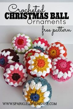 Have fun decorating for the holidays with color. These crocheted Christmas ball ornaments are easy to make with this free pattern at Sparkles of Sunshine.