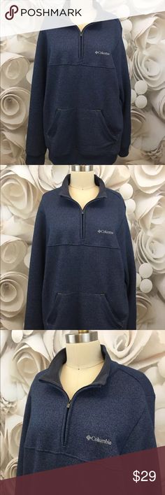 Columbia Half Zip Sweater Knit Fleece Pullover SzM Columbia Mens Half Zip Sweater Knit Fleece Pullover Blue Front Pocket Sz M EUC  This is a pullover that will fit both a Medium and a Large.  Please see measurements to determine the best fit.  Measurements :  Chest:  48 inches around Shoulder to Hem:  29 inches long Sleeve:  28 inches long Columbia Jackets & Coats Lightweight & Shirt Jackets