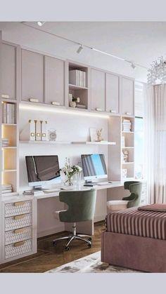 Study Room Furniture, Study Room Decor, Room Decor Bedroom, Bedroom Study Area, Home Office Setup, Home Office Space, Office In Bedroom Ideas, Ikea Home Office, Study Room Design