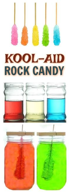 FUN SCIENCE: Grow your own rock candy using Kool-aid! ( SO COOL!!) Science Party, Science Activities For Kids, Easy Science, Science Fair Projects, Projects For Kids, Diy For Kids, Crafts For Kids, Food Science, Summer Activities