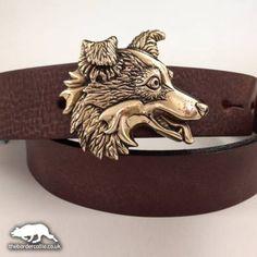 Pewter or Bronze Border Collie Belt Buckle & Belt