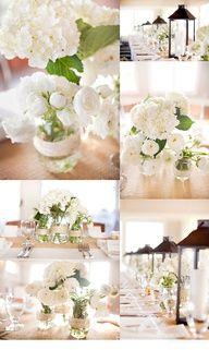 White hydrangeas, lanterns, twine Centerpiece