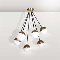 Stilnovo. 1950 Interior Lighting, Lighting Design, The Saleroom, Vintage Lighting, Lamp Light, Chandelier, Ceiling Lights, Sculpture, House