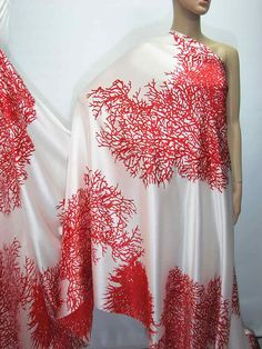 I LOVE THIS FABRIC. Can you get somebody to make a dress? I don't even know what I want it in, just a sun dress for a non-profit fundraising gala i'm putting on with a Luau theme.     Help!!    Dress Fabric Nice Red color Coral Print Pure Silk Satin Charmeuse Fabric sp2042
