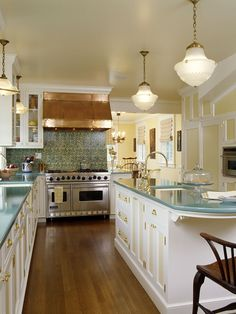Georgeous Retro Kitchen - Blue counter tops