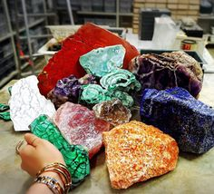 Choosing stone colors in our factories in Florence, Italy, for the upcoming Vita Fede collection