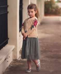 Butterscotch Eloise Floral Cardigan & Skirt - Toddler & Girls
