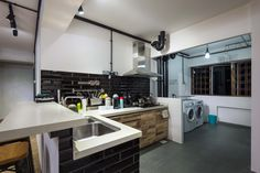 HDB 5 Room Resale Industrial Design Open Kitchen Concept - Bayti Design Pte Ltd