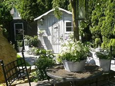 A Shabby Chic Craft Shed or a Delightful Home Office In a Shed ~ so pretty
