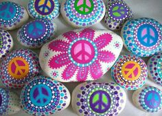 ☮ American Hippie Art ☮ Peace Sign .. Painted Rocks