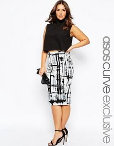 ASOS CURVE Pencil Skirt in Abstract Print