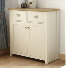 Brambly Cottage This Boaman Sideboard compact 2 drawers with its matte grey finish and oak veneered top and features two handy drawers with satin silver handles and a spacious double door cupboard underneath fitted with satin silver knobs. Sideboard Cabinet, Kitchen Cabinet Doors, Tv Cabinets, Cupboard, Kitchen Cabinets, Side Board, Garage Gym, Ikea Hack, Blue Drawers