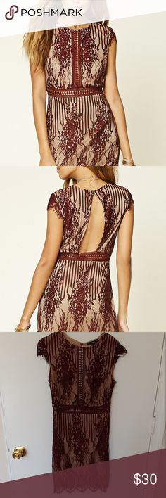 """Floral lace cut out dress New. Burgundy and nude. Nylon/polyester/cotton. Knit dress featuring crochet lace with floral embrodery, back cut out, cap sleeves, round neckline, cutout trim, scalloped eyelash lace trim and a concealed side zipper. Cheat 27"""", waist 33"""", length 34.5"""". 11 By Boris Bidjan Saberi Dresses"""