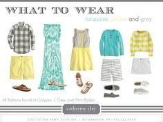 Turquoise, yellow & grey make unique color combinations for summer photos! | #summer #summerwardrobe #photographyideas #whattowear
