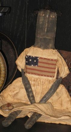 PRIMITIVE Folk Art Doll w/ Flag