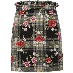 Topshop Past Time Check Mini Skirt (€36) ❤ liked on Polyvore featuring skirts, mini skirts, topshop, clothes / skirts, floral, skirts 2, black, short skirts, checkerboard skirt and floral print mini skirt