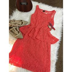 Lace Shift Dress in Coral Pop worn once Allover feminine lace. Fun bright color. Dresses Midi