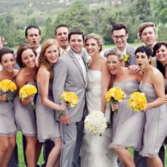 Gray Bridesmaid Dresses and grey suits...is it too much grey? It makes the flowers pop!