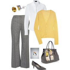Yellow and Gray for Work, created by laura-meiers on Polyvore
