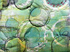 green bay spring by janelafazio free stitch quilt with Gelli printed fabric :) Beautiful!