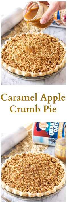 Caramel Apple Crumb Pie | www.reciperunner.com | The perfect holiday pie with the most amazing oat crumb topping!