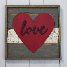 "13"" Framed Pallet Canvas - Love Heart"