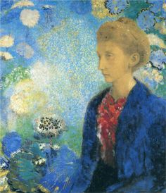 Woman in Profile under a Gothic Arch Artist: Odilon Redon Completion Date: c.1907 Style: Symbolism Genre: portrait Technique: pastel Materia...
