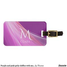 Purple and pink girly chiffon with monogram luggage tag