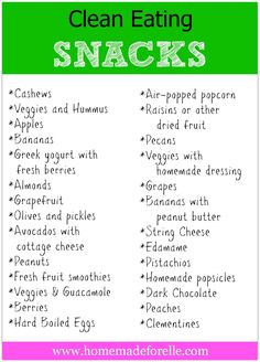 Clean Eating Snacks - 26 Ideas | homemadeforelle.com