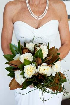 magnolia leaves, magnolias, garden roses, hydrangeas, champagne coffee cream colored flowers