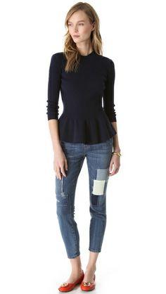 Tory Burch Madeline Peplum Sweater | SHOPBOP
