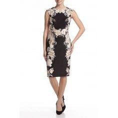 Chetta B Placement Floral Print Sheath Dress