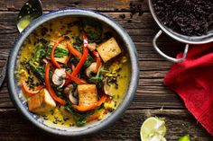 Golden coconut curry with tofu, spinach, and black rice