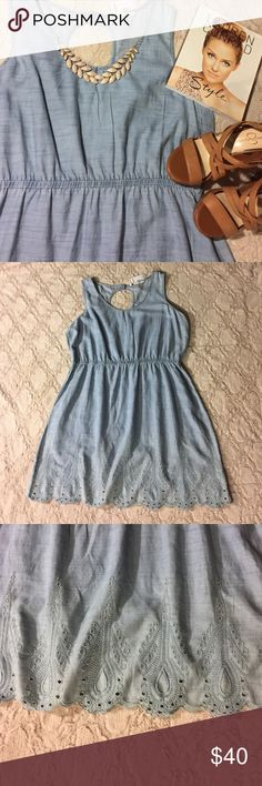 NWT LC Lauren Conrad Chambray Dress Brand new with tags! Beautiful Chambray with eyelet detailing at the bottom. Light and has an elastic waist band. Peep hole in the back. V-neck. Seems to run true to size. Bundle and save! 👗🙋🏽👍🏼 LC Lauren Conrad Dresses