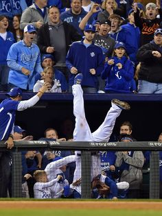 Kansas City Royals third baseman Mike Moustakas falls into fans in the stands as he catches a foul pop-up by Adam Jones of the Baltimore Orioles during Game 3 of their playoff matchup on Oct. 14 in Kansas City, 2014 MLB playoffs
