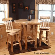 Rustic handcrafted red pine log octagon pub table with swivel bar stools.  Made in America.  http://www.logcabinrustics.com/rustic-furniture-pub-table-tn.html  #pine #log #pub #table