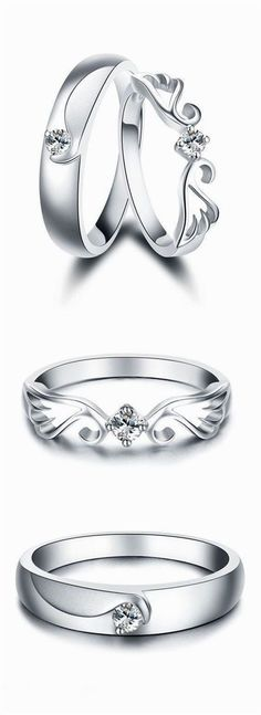 Angel Wing & Crown Promise Rings for Couples, Matching Cute Couple Rings Set in Sterling Silver, Cheap Diamond Womens and Mens Wedding Rings, Beautiful Love Jewelry Set for Boyfriend and Girlfriend #DiamondWeddingRingsforMen #men'sjewelry #DiamondJewelry