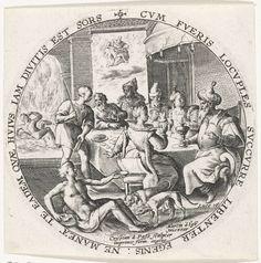 Crispijn van de Passe (I)   Gelijkenis van de rijke man en de arme Lazarus, Crispijn van de Passe (I), 1604   De rijke man zit aan een tafel waar een feestmaal aan de gang is. Op de voorgrond bedelt de arme Lazarus terwijl twee honden zijn zweren likken. Op de achtergrond wordt de ziel van Lazarus ten hemel gedragen en gaat de ziel van de rijke man het vagevuur in (Luc. 16). De voorstelling is gevat in een ronde omlijsting met een randschrift in het Latijn. Prent uit een serie met…