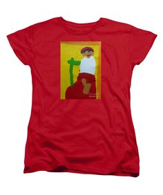 Purchase a women's Red Designer t-shirt featuring the image of Italian Woman 2014 - After Vincent Van Gogh by Patrick Francis.  Available in sizes S - XXL.  Each womens t-shirt is printed on-demand, ships within 1 - 2 business days, and comes with a 30-day money-back guarantee.